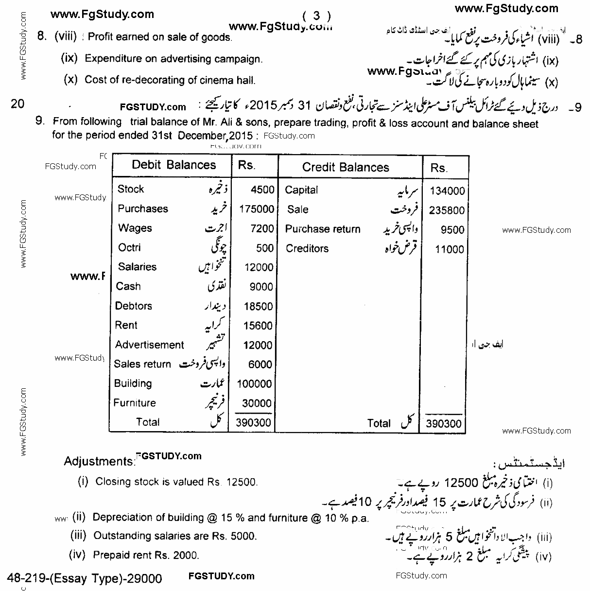 page 3 Principles Of Accounting Lahore Board Subjective 11th Past Papers 2019