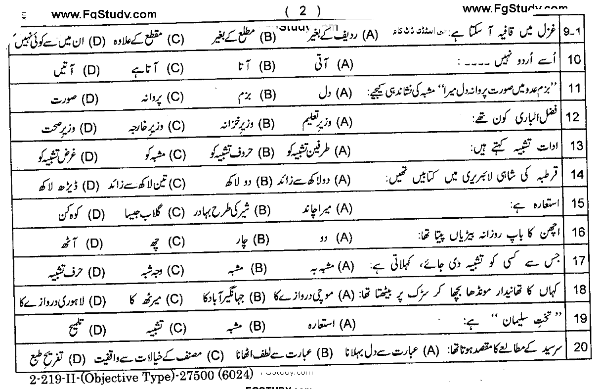 Urdu Compulsory Lahore Board Objective Group 2 11th Past Papers 2019