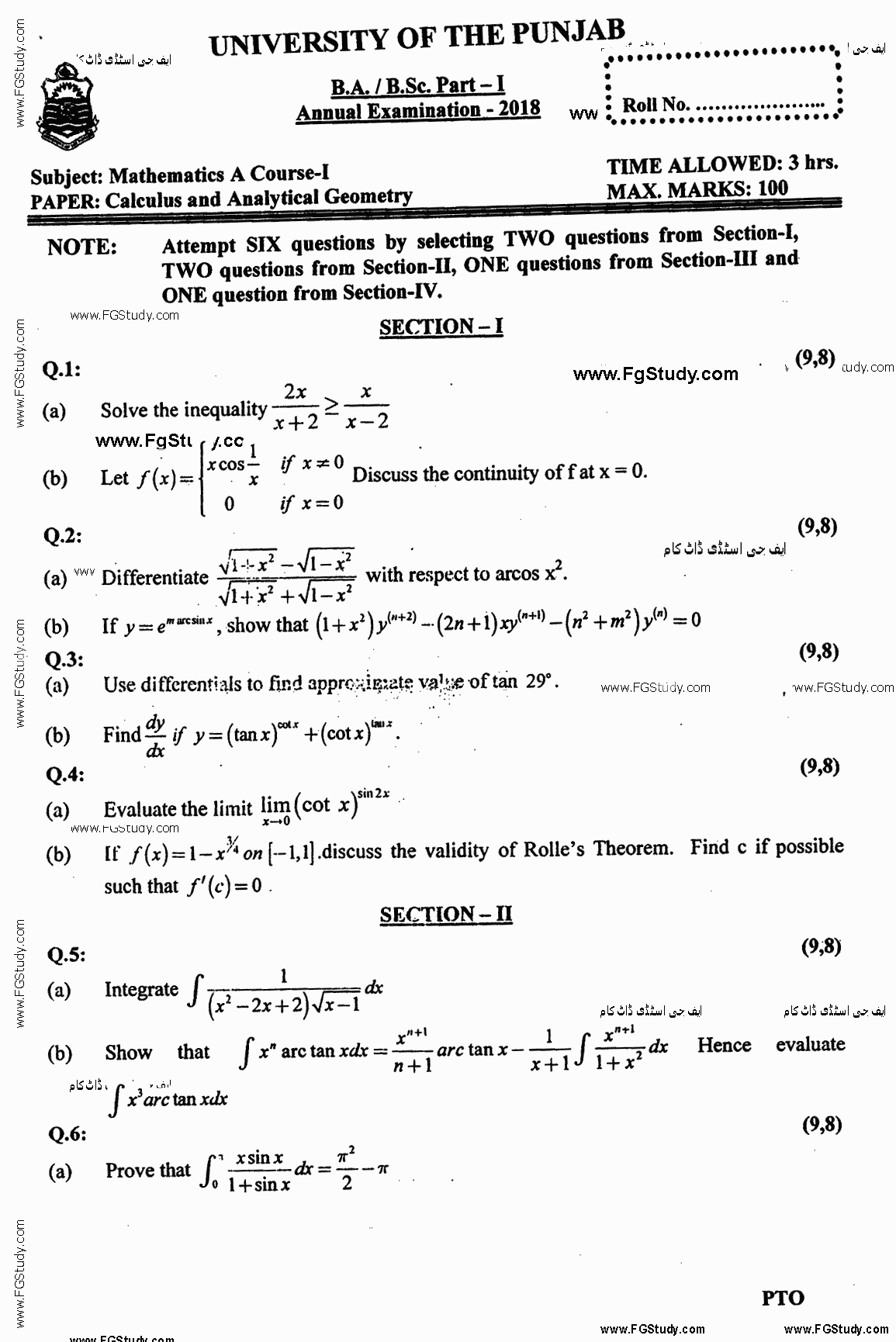 Mathematics A Calculus And Analytical Geometry BA Part 1 Past Papers 2018