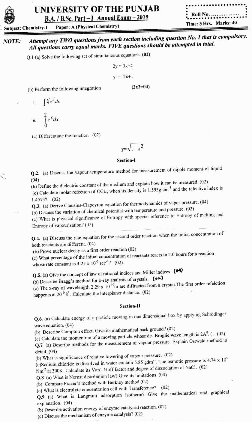Chemistry Physical Chemistry BA Part 1 Past Papers 2019