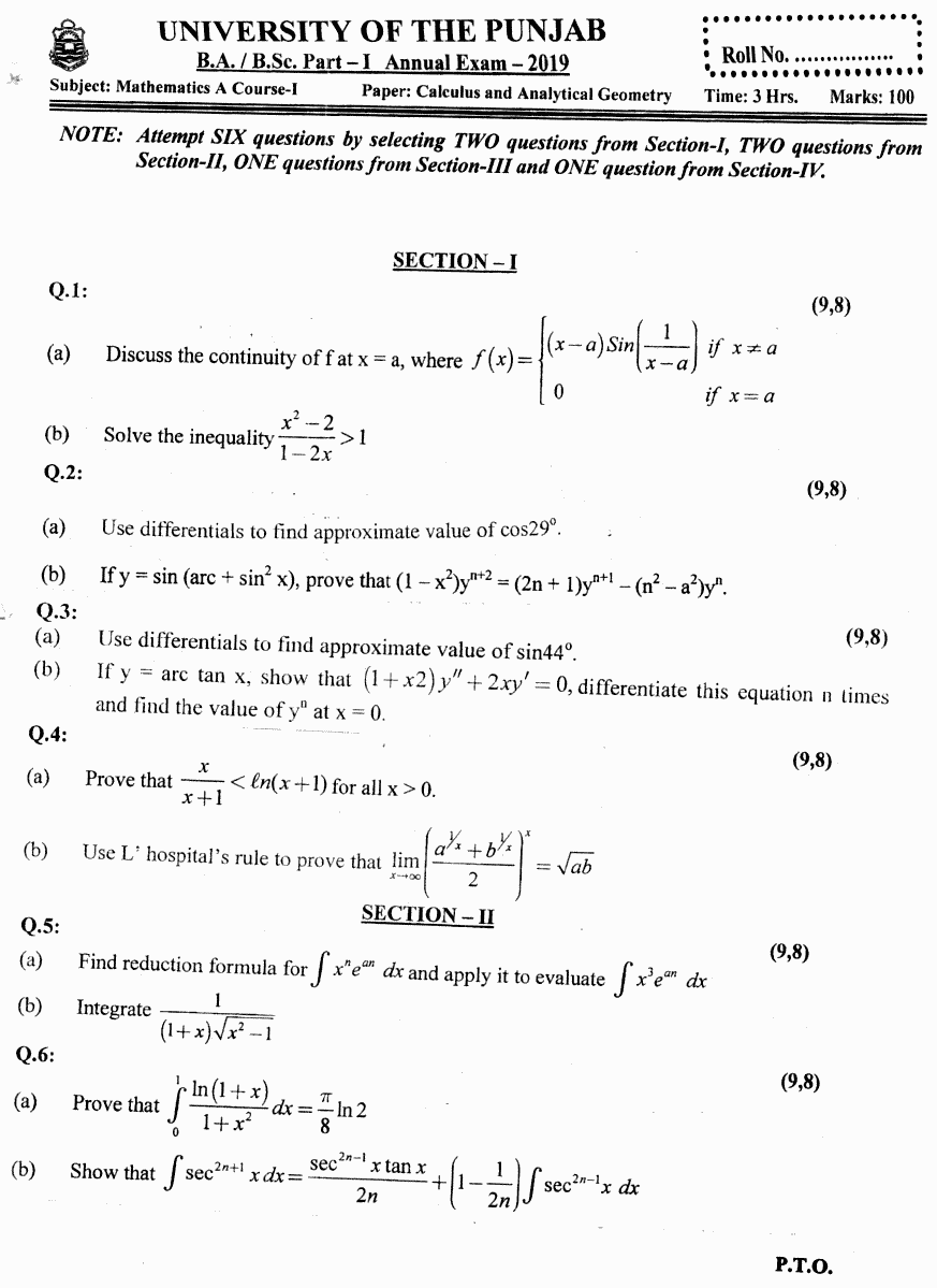Mathematics Calculus And Analytical Geometry Group 2 BA Part 1 Past Papers 2019