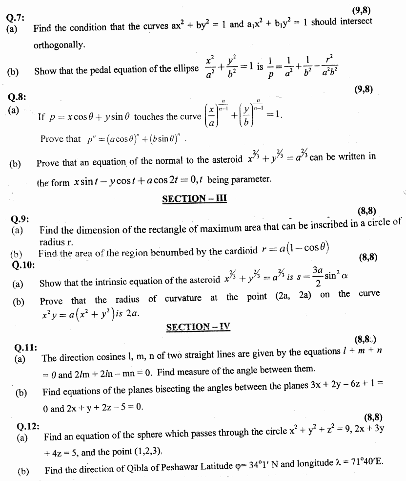 Mathematics Calculus And Analytical Geometry Group 2 BA Part 1 Past Papers 2019 p2