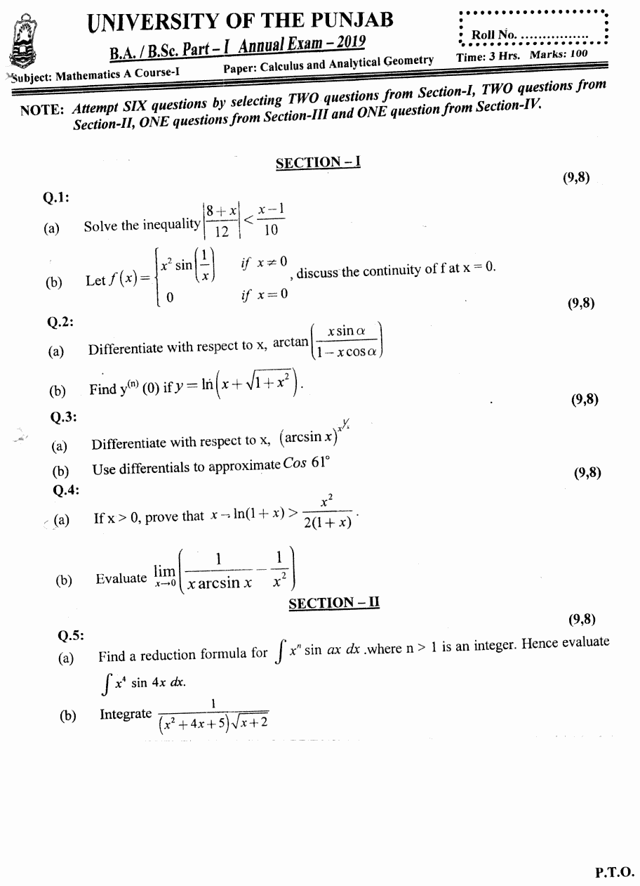 Mathematics Calculus And Analytical Geometry BA Part 1 Past Papers 2019