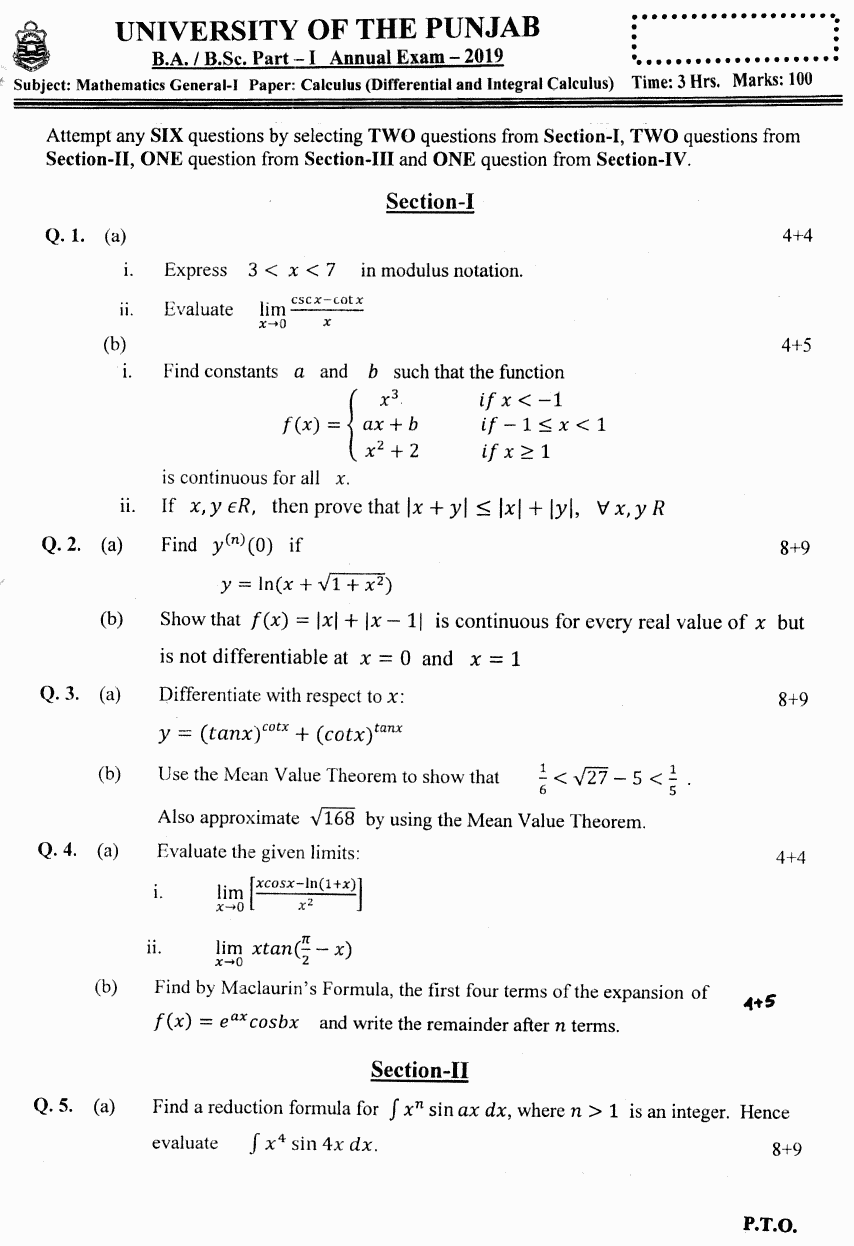 Mathematics General Calculus Differential And Integral Group 2 BA Part 1 Past Papers 2019