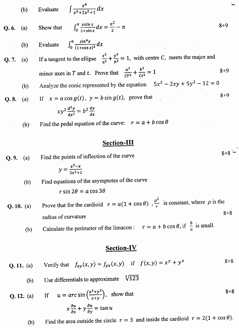 Mathematics General Calculus Differential And Integral Group 2 BA Part 1 Past Papers 2019 p2