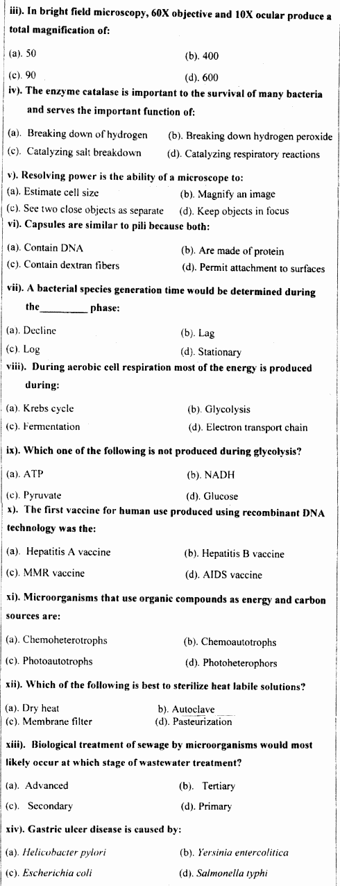Microbiology Fundamentals Of Microbiology Group 2 BA Part 1 Past Papers 2019 p2