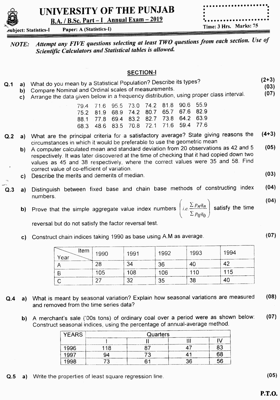 Statistics Group 2 BA Part 1 Past Papers 2019