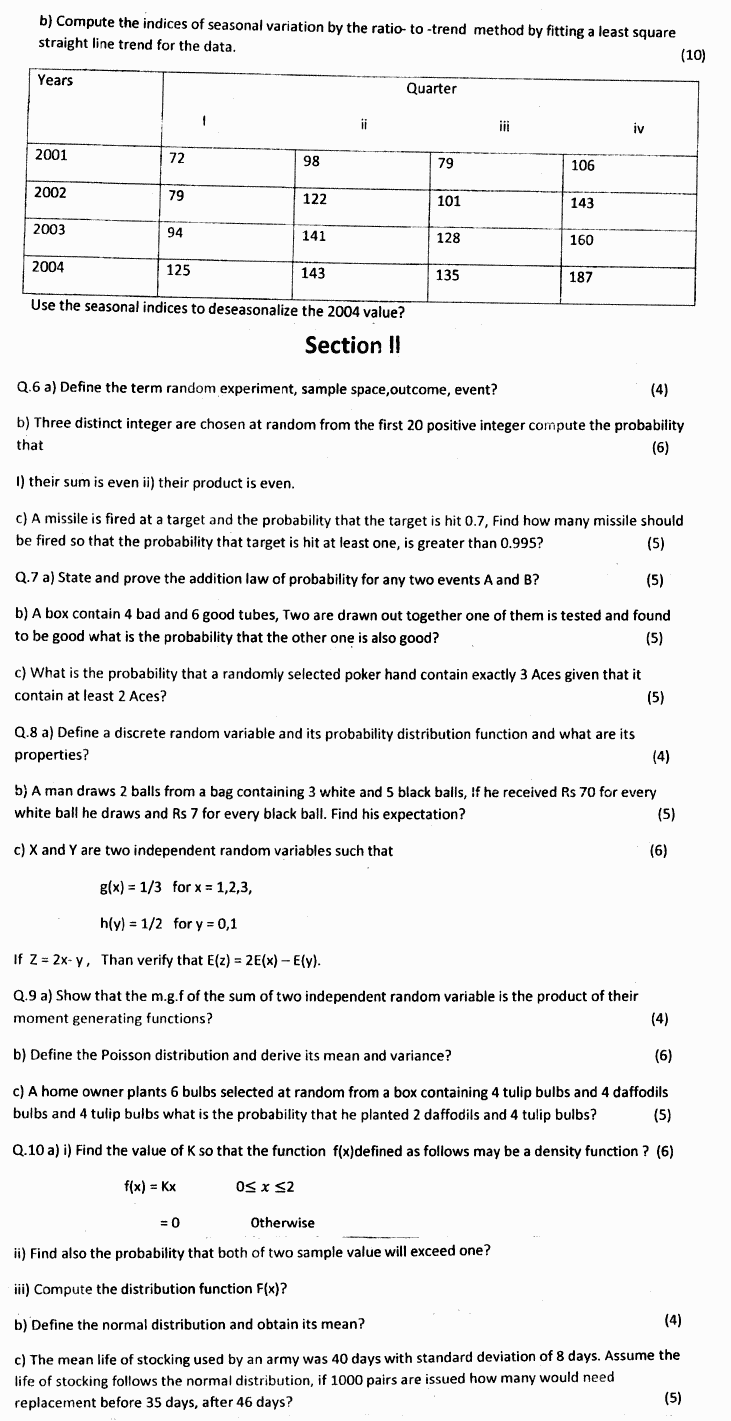 Statistics BA Part 1 Past Papers 2019 page 2